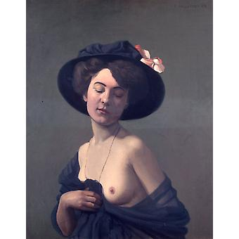 Femme avec le chapeau noir, Felix Vallotton, 50x40cm