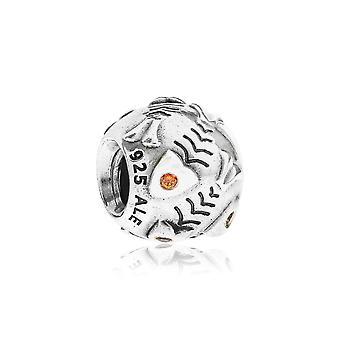 Pandora Fishbone Silber & Orange CZ Charm 790426OCZ