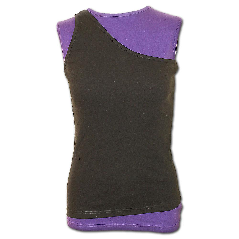Spiral Direct Gothic URBAN FASHION - 2in1 Slant Top Purple and Black|Fashion