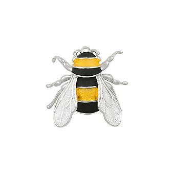 Eternal Collection Queen Bee Jaune et Noir Enamel Silver Tone Brooch
