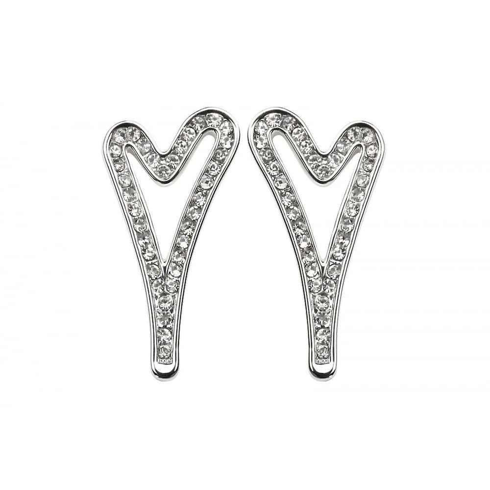 Miss Dee Silver Plated Open Heart Crystal Stud Earrings
