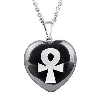 Amulett Ankh ägyptische Kräfte des Lebens Schutz Energie Hämatit geschwollenen Herz Anhänger 18-Zoll-Halskette