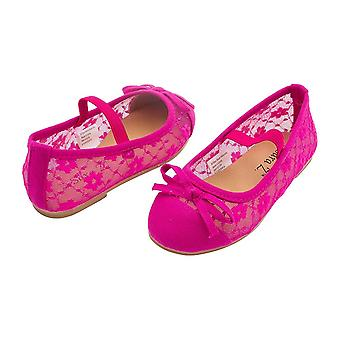 Sara Z Toddler Girls Lace Openwork Slip On Ballet Flat with Elastic Arch & Bow