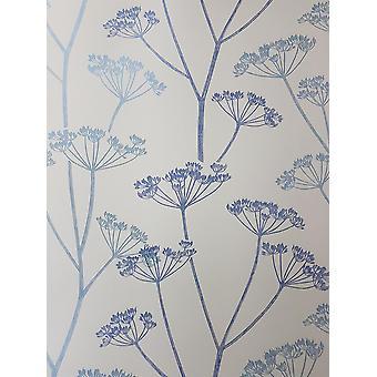 Blue Brasilia Flower Wallpaper Floral Metallic Off White Fine Decor Albury