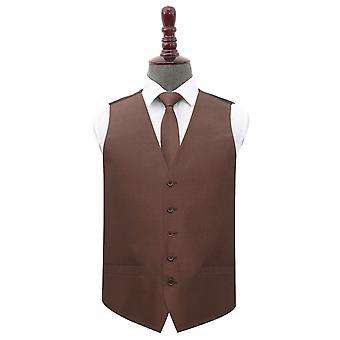 Chocolate Brown Plain Shantung Wedding Waistcoat & Tie Set