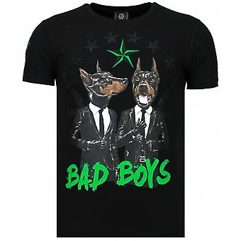 Bad Boys Pinscher-Rhinestone T-shirt-Noir