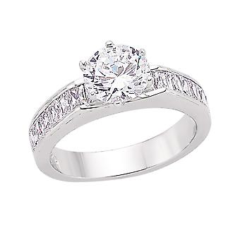 Jewelco London Rhodium Plated Silver Round and Baguette Cubic Zirconia Shoulder-Set Halo Solitaire Engagement Ring