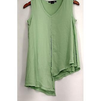 Kate & Mallory Top V-Neck Asymmetrical Hemline Tank Green Womens A433239