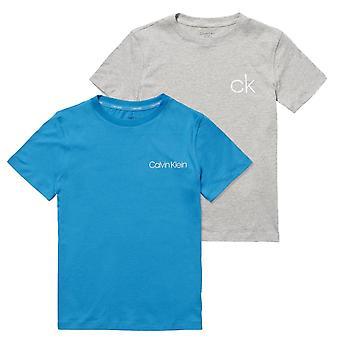 Calvin Klein Boys 2 Pack Customized Stretch Short Sleeve T-shirt - GreyHeather/BlueJewel