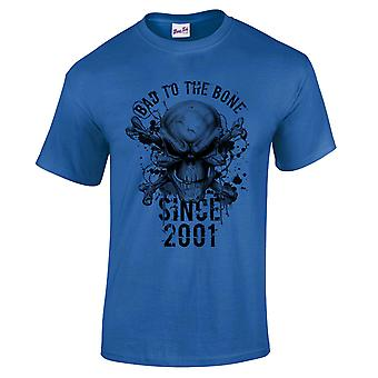 Men's 18th Birthday T-Shirt Bad To The Bone 2001 Prezenty dla niego