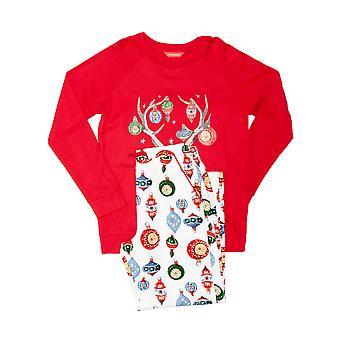 Minijammies 5515 Dziewczyna's Belle White Mix Bauble Print Cotton Pyjama Set