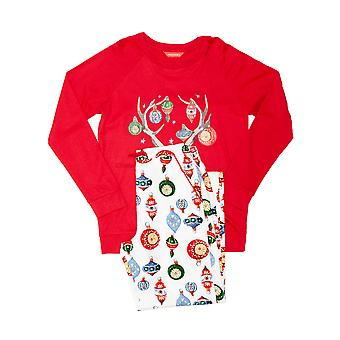 Minijammies 5515 Girl's Belle White Mix Bauble Print Cotton Pyjama Set