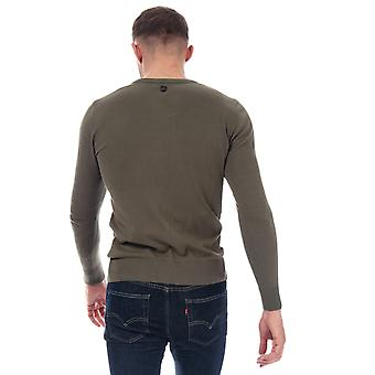Mens Duck And Cover Bowyer V Neck Knit In Khaki- Long Sleeve- V-Neck- Ribbed