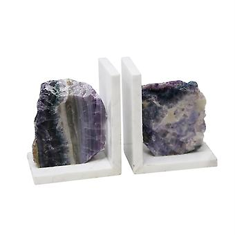 Vivid  set of 2 purple marble bookends with agate