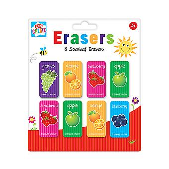 Pack of 8 Childrens Fruit Scented Erasers