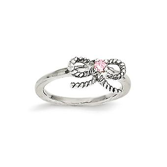 925 Sterling Silver Polished Pink CZ Cubic Zirconia Simulated Diamond Bow Kids Ring - Ring Size: 3 to 4