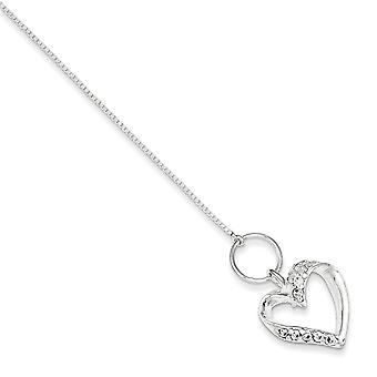 925 Sterling Silver Polished Toggle Closure Cubic Zirconia Heart Bracelet - 7.5 Inch - Toggle