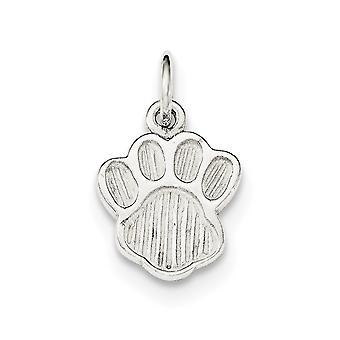 925 Sterling Silber poliert und strukturierte Hund Katze Pet Paw Print Charm Anhänger Halskette Schmuck Geschenke für Frauen