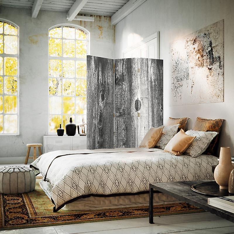 Diviseur de chambre, 3 panneaux, à un seul côté, toile, planche rustique 2