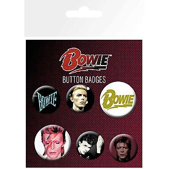 David Bowie Badge Pack Aladdin Sane Logo Official 6 Pack (4 x 25mm & 2 x 32mm)