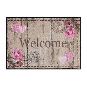 Salon lion foot mat washable cottage chic Welcome Roses 50 x 75 cm SLD1104-050 x 075