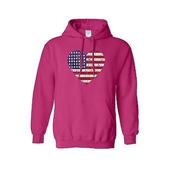 Men's Sudadera con capucha USA Flag Heart Pride American Love