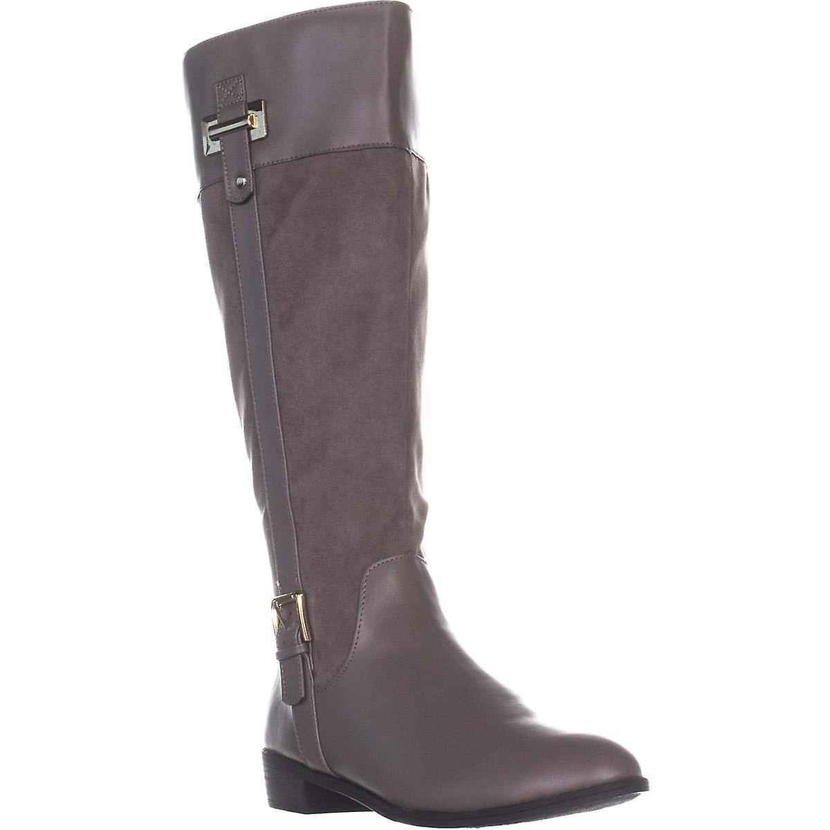 KS35 Deliee Flat Knee-High Boots, Stone  7wUW5t