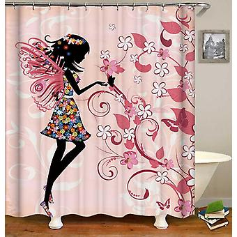 Girly Black Figure Over Pink Shower Curtain