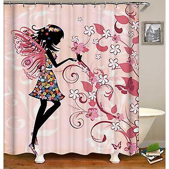 Girly Figura nera su rosa doccia tenda