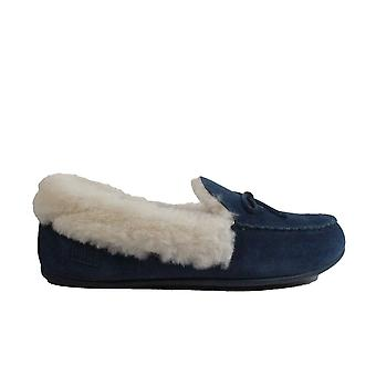 Fitflop Clara Shearling Navy Suede Leather Womens Moccasin Full Shoe Slippers