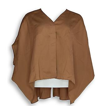 Laurie Felt Women's Top V-Neck Blouse High Low Hem Brown A309541