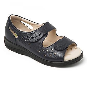 Padders Heatwave naisten nahka Extra leveä (2E) sandaalit Navy