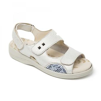 Padders Gemstone Ladies Leather Extra Wide (3e/4e) Sandals White Metallic Reptile