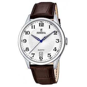 Festina F20426-1 Männer's braun Leder Armbanduhr