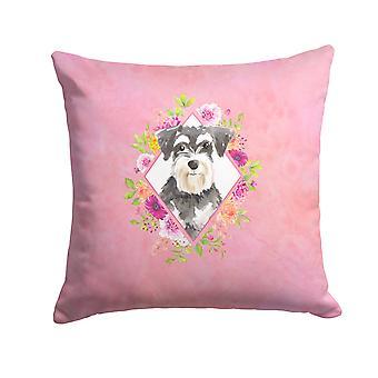 Schnauzer #2 Pink Flowers Fabric Decorative Pillow