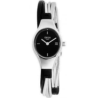 Opex OPW014 Watch - FILANTE Leather Bracelet Grey Wood Steel Silver Women