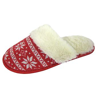 Coolers Womens Nordik Knitted Faux Fur Lined Mule Slippers