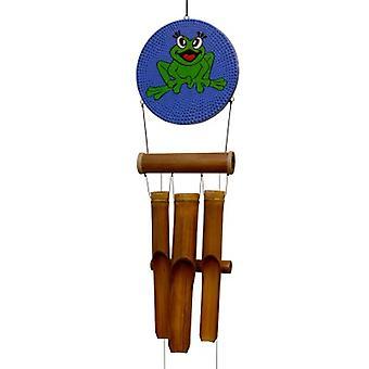 Chat sonde de vent de bambou de points de grenouille heureuse
