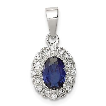 925 Sterling Silver Polished With CZ Cubic Zirconia Simulated Diamond and Syn. Sapphire Pendant Necklace Jewelry Gifts f