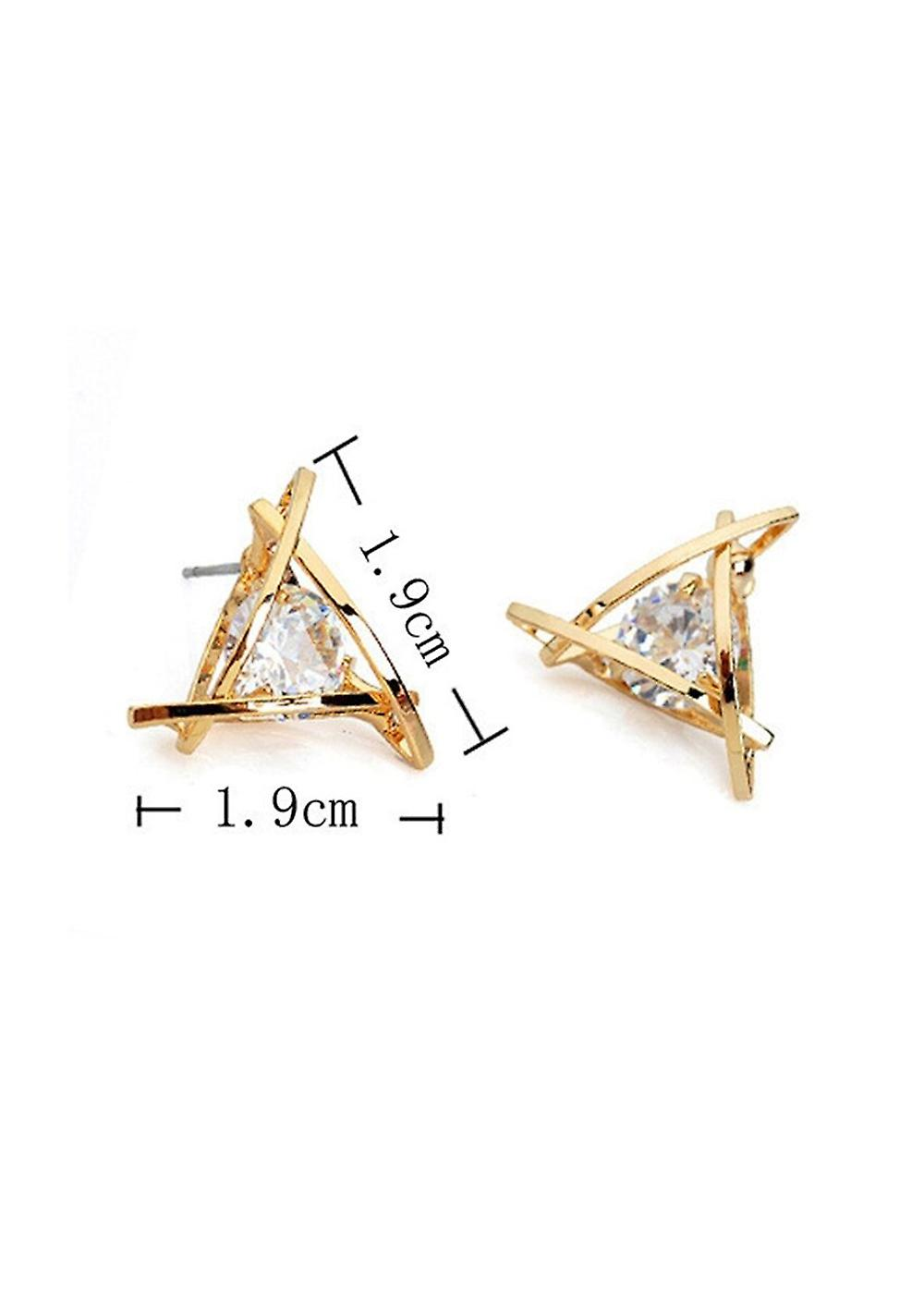 Gold Geometrical Stud Earrings with Sterling Crystal