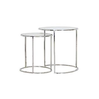 Light & Living Side Table Set Of 2 40x45 And 50x52cm Duarte Nickel And Glass