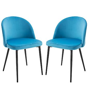 HOMCOM Modern Upholstered Fabric Bucket Seat Dining Chairs Set of 2 Blue