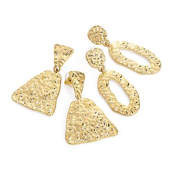 Two Pairs Gold Colour Worn Stamped Effect 5cm Drop Earring Set