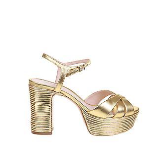 Schutz S2034601080005 Women's Gold Leather Sandals