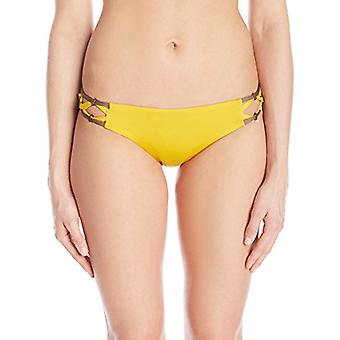 Dolce Vita Women's Solid Bikini Bottom with Beaded Side, Sunbeam, S