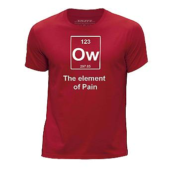 STUFF4 Boy's Round Neck T-Shirt/Funny Periodic Element / Pain/Red