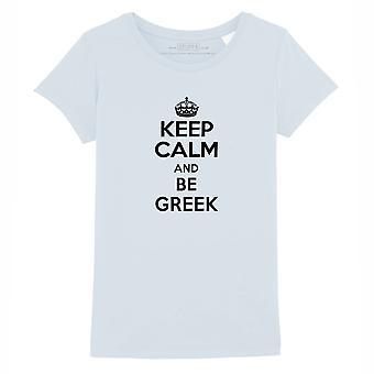 STUFF4 Girl's Round Neck T-Shirt/Keep Calm Be Greek/Baby Blue