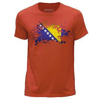 STUFF4 Men's Round Neck T-Shirt/Bosnia & Herzegovina Flag Splat/Orange