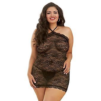 Sexy Plus Size Lace High Neck Low Back Chemise