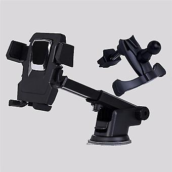 Benhong universal car air vent mount front glass sucker desk stand holder for phone 3-6.5 inches (black)
